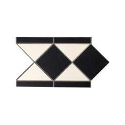Victorian Hallway Tiles Black and White 'Strand' Border