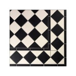 Mesh Mounted Black and White Diagonal Chequered Tile Panels