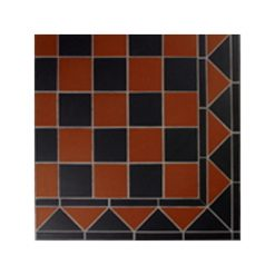 Mesh Mounted Brick Red and Black Chequers Tile Panels
