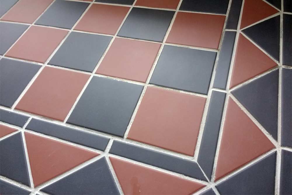 Brick Red and Black Victorian Floor Tiles