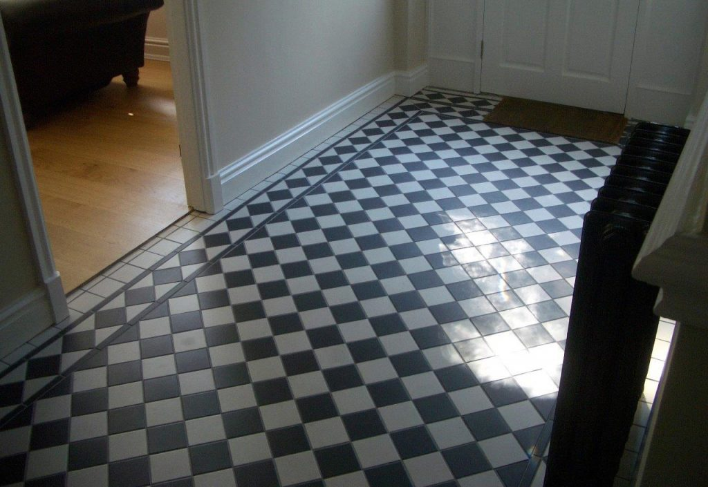 Black And White Diagonal Chequered Tiles Firetile Ltd