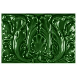 "Victorian Green Floral 9""x6"" Tile"