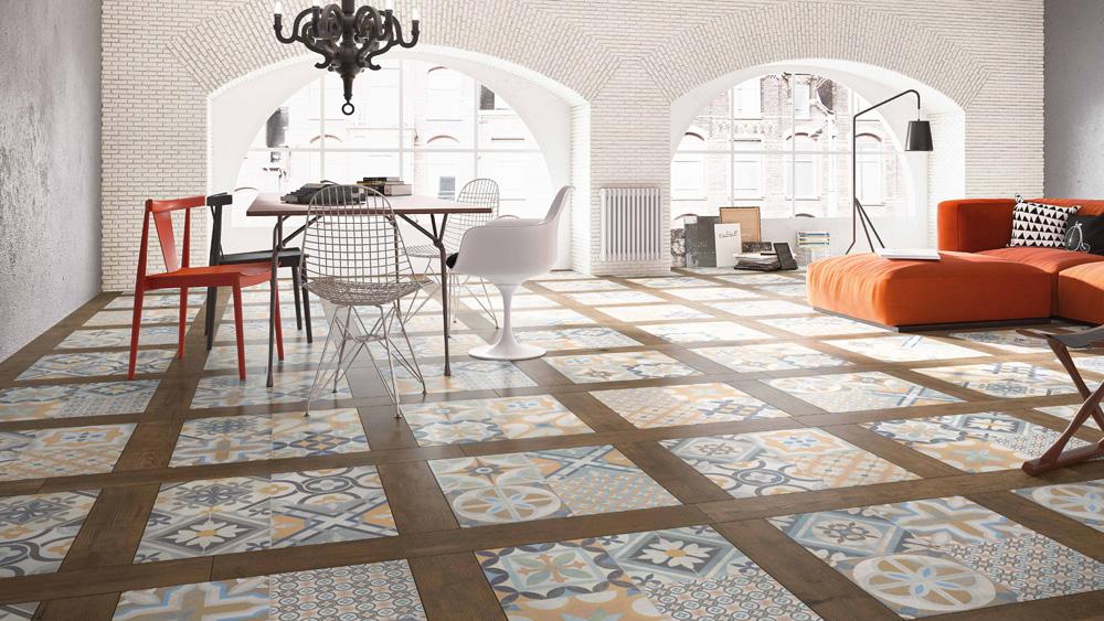 Sorbonne Encaustic Effect Porcelain Floor Tiles